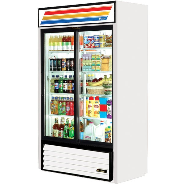 True GDM-41SL-LD White Slim Line 2-Section Sliding Glass Door Refrigerated Merchandiser  33 Cu Ft