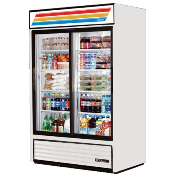 True GDM-45-LD 2-Section Glass Sliding Door Refrigerated Merchandiser 45 Cu Ft