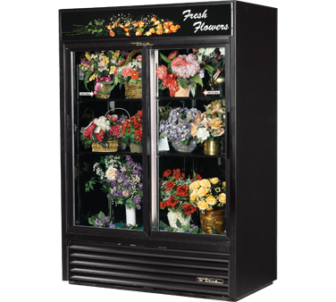 True GDM-47FC-LD Two-Section Glass Sliding Door Floral Merchandiser 47 Cu Ft