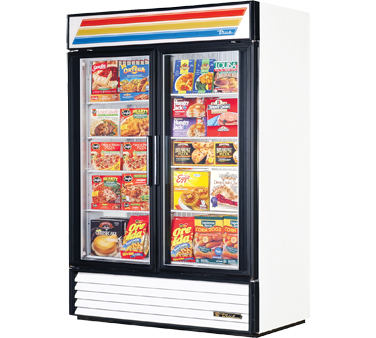 True GDM-49F-LD Two-Section Glass Swing Door Freezer Merchandiser 49 Cu Ft