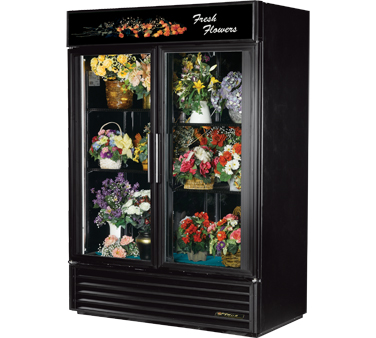 True GDM-49FC-LD Two-Section Glass Door Floral Merchandiser 49 Cu Ft