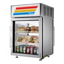 True GDM-5PT-S-LD Stainless Steel Pass Thru Countertop Glass Door Refrigerated Merchandiser 5 Cu Ft