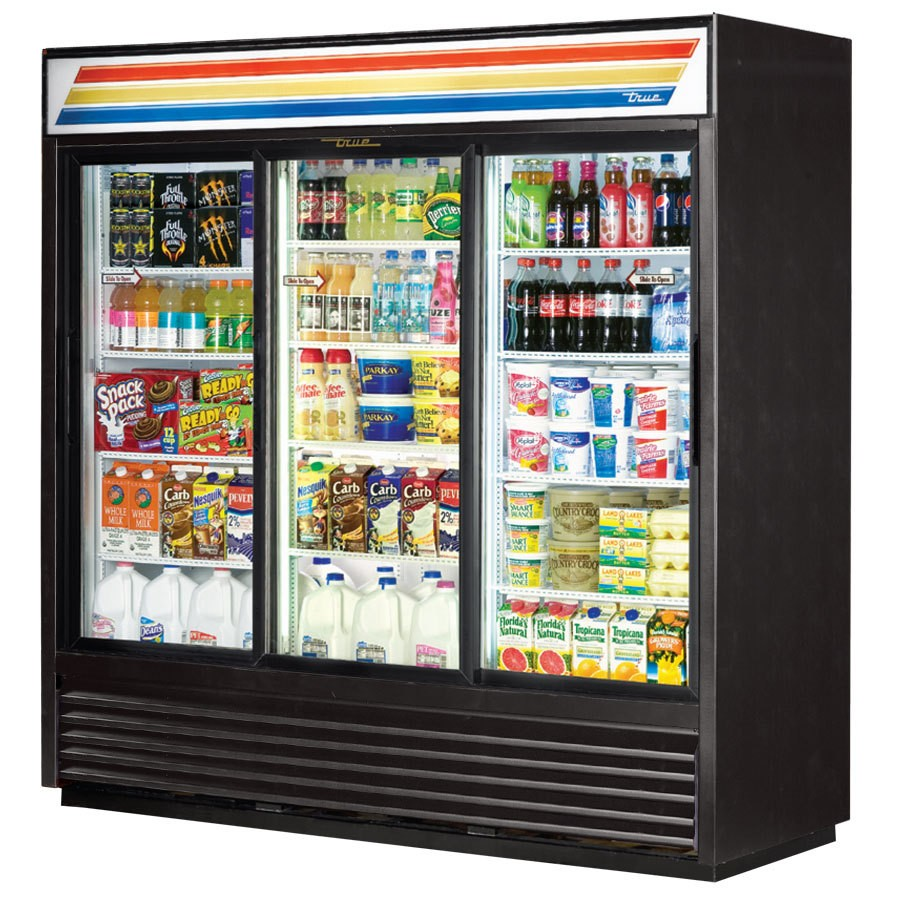 True GDM-69-LD 3-Section Glass Door Refrigerated Merchandiser 69 Cu Ft