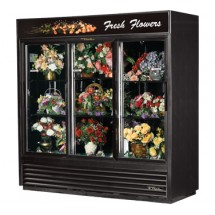 True GDM-69FC-LD Three-Section Glass Sliding Door Floral Merchandiser 69 Cu Ft