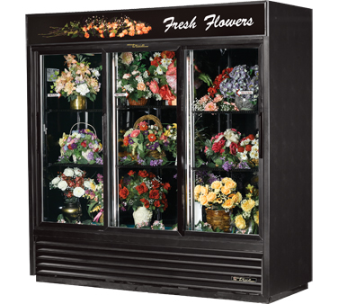 True GDM-69FC 69 Cu Ft Three-Section Glass Sliding Door Floral Merchandiser