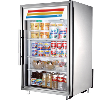True GDM-7-S-LD Stainless Steel Countertop Display Refrigerator with Swing Door 7 Cu Ft
