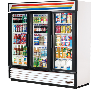 True GDM-72-LD 3-Section Glass Door Refrigerated Merchandiser 72 Cu Ft