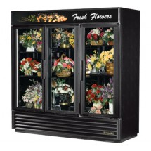 True GDM-72FC-LD Three-Section Swing Glass Door Floral Merchandiser 72 Cu Ft