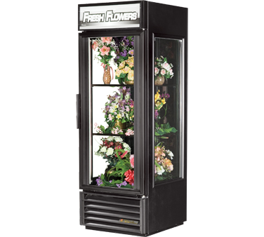True GEM-23FC-LD Black Swing Door Glass End Floral Merchandiser 23 Cu Ft