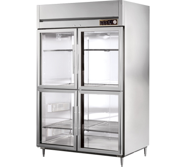 True STA2H-4HG 56 Cu Ft Reach In Two-Section Glass Half Door Heated Cabinet