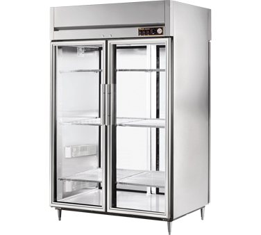 True STA2HPT-2G-2S 56 Cu Ft Pass-Thru Glass and Solid Door Heated Cabinet