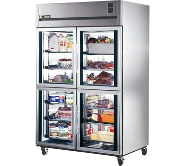 True STA2R-4HG  Two Section Glass Half Door Reach In Refrigerator  56 Cu Ft