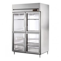 True STG2H-4HG 56 Cu Ft Reach In Two-Section Glass Half Door Heated Cabinet