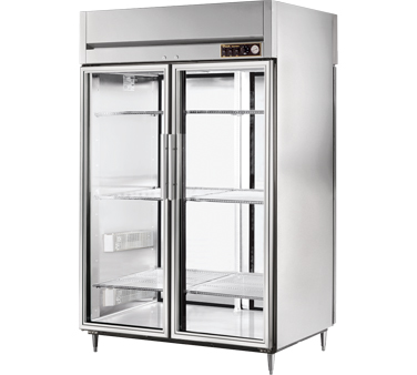 True STG2HPT-2G-2S 56 Cu Ft Pass-Thru Glass and Solid Door Heated Cabinet
