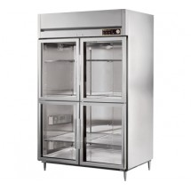True STR2H-4HG 56 Cu Ft Reach In Two-Section Glass Half Door Heated Cabinet