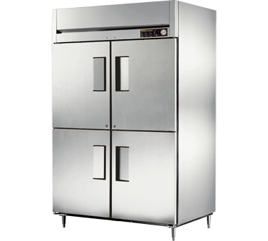 True STR2H-4HS 56 Cu Ft Reach In Two-Section Solid Half Door Heated Cabinet