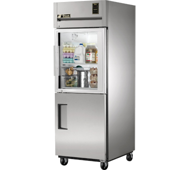 True STA1R-1HG/1HS One Section Reach-In Refrigerator with Glass Top Door and Solid Bottom Door 31 Cu Ft