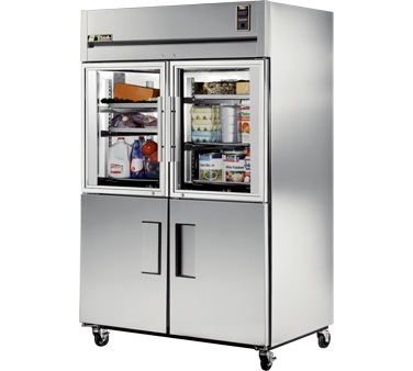 True STA2R-2HG/2HS Reach In Refrigerator with Two Glass and Two Solid Half Doors 56 Cu Ft