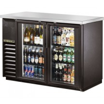 True TBB-24-48G-LD Black 2 Glass Doors Back Bar Refrigerator with LED Lighting 49&quot