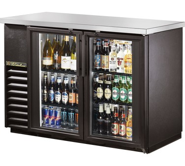 True TBB-24-48G-LD Black 2 Glass Doors Back Bar Refrigerator with LED Lighting 49""