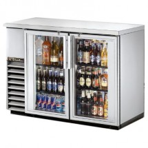 True TBB-24-48G-S-LD Stainless Steel 2 Glass Doors Back Bar Refrigerator with LED Lighting 49""
