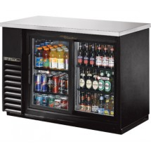 True TBB-24-48G-SD-LD Black 2 Glass Sliding Doors Back Bar Refrigerator with LED Lighting 48""