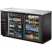 True TBB-24-60G-LD  Black 2 Glass Doors Back Bar Refrigerator with LED Lighting 60""