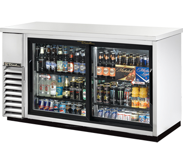 True TBB-24-60G-SD-S Stainless Steel 2 Section Glass Sliding Doors Back Bar Refrigerator with LED Lighting 61""