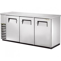 """True TBB-24-72-S Stainless Steel 3-Section Solid Doors Back Bar Refrigerator 72"""""""