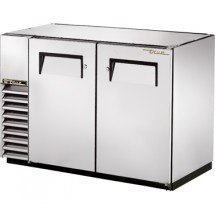 True TBB-24GAL-48-S Stainless Steel 2 Section Solid Door Back Bar Refrigerator with Galvanized Top 48""