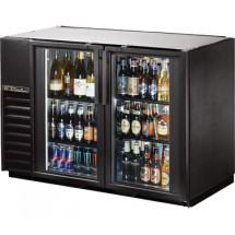True TBB-24GAL-48G-LD Black 2 Section Glass Door Back Bar Refrigerator with Galvanized Top and LED Lighting 48""