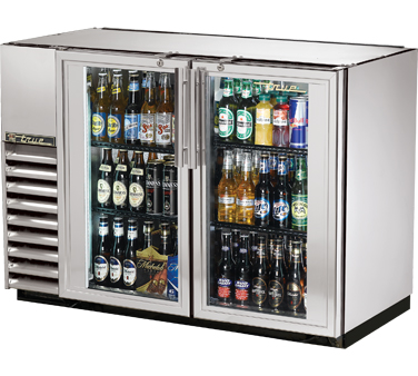 """True TBB-24GAL-48G-S-LD Stainless Steel 2 Section Glass Door Back Bar Refrigerator with Galvanized Top and LED Lighting 48"""""""