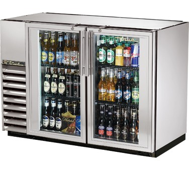 True TBB-24GAL-48G-S-LD Stainless Steel 2 Section Glass Door Back Bar Refrigerator with Galvanized Top and LED Lighting 48""