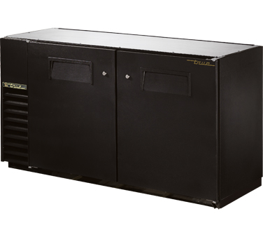 """True TBB-24GAL-60 Black 2 Section Solid Door Back Bar Refrigerator with Galvanized Top  60"""""""