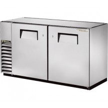 True TBB-24GAL-60-S Stainless Steel 2 Section Solid Door Back Bar Refrigerator 60""