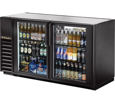True TBB-24GAL-60G-LD Black 2 Section Glass Door Back Bar Refrigerator with Galvanized Top and LED Lighting 60""