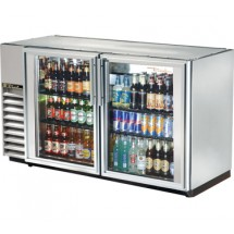 True TBB-24GAL-60G-S-LD Stainless Steel 2 Section Glass Door Back Bar Refrigerator 60""