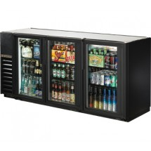 True TBB-24GAL-72G-LD Black 3-Section Glass Doors Back Bar Refrigerator with Galvanized Top and LED Lighting 72""