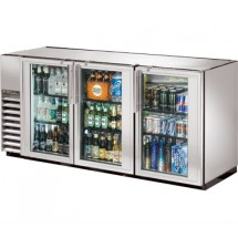 """True TBB-24GAL-72G-S-LD Stainless Steel 3 Section Glass Doors Back Bar Refrigerator with Galvanized Top and LED Lighting 72"""""""