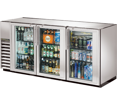 True TBB-24GAL-72G-S-LD Stainless Steel 3 Section Glass Doors Back Bar Refrigerator with Galvanized Top and LED Lighting 72""