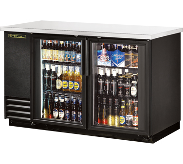 True TBB-2G-LD Black 2 Section Glass Doors Back Bar Refrigerator with LED Lighting 59""