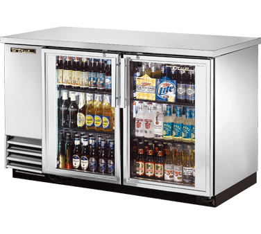 True TBB-2G-S-LD Stainless Steel 2 Section Glass Doors Back Bar Refrigerator with LED Lighting 59""