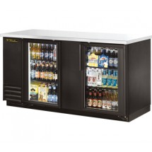True TBB-3G-LD Black 2-Section Glass Doors Black Back Bar Refrigerator with LED Lighting 69""