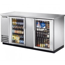 True TBB-3G-S-LD Stainless Steel 2 Section Glass Doors Back Bar Refrigerator with LED Lighting 69""
