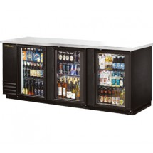 True TBB-4G-LD 3 Section Glass Doors Back Bar Refrigerator with LED Lighting 90""