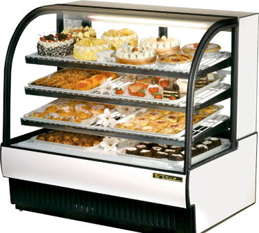 True TCGR-50 50-7/8W Curved Glass Refrigerated Bakery Case