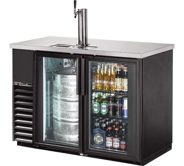 True TDB-24-48G-LD Bar Cooler with Direct Draw Beer Dispenser with Two Glass Doors, 49