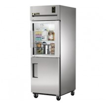 True STG1R-1HG/1HS One Section Reach In Refrigerator with Solid and Glass Half Doors 31 Cu Ft