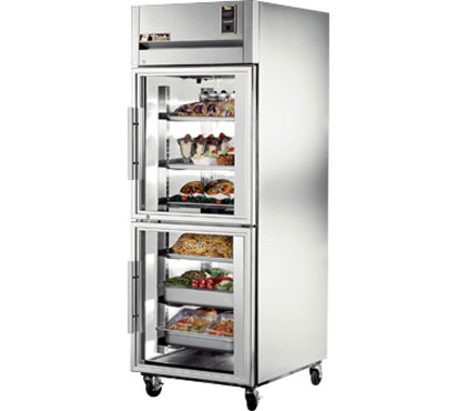 True STG1R-2HG One Section Glass Half Door Reach In Refrigerator 31 Cu Ft