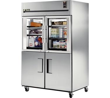 True STG2R-2HG/2HS Two Section Reach In Refrigerator with Two Solid and Two Glass Half Doors  56 Cu Ft